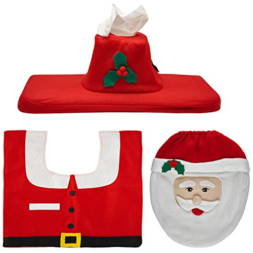 Christmas Happy Santa Toilet Décor, Seat Tank Tissue Cover and Rug Set for Christmas Décor.