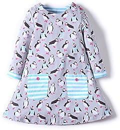 Girls Cotton Long Sleeve Dresses Dress Cute Cartoon Dresses