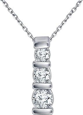 Silvercartvila 3 Stone Drop Pendant Necklace With 18 Chain 0.48 Ct Round CZ Diamond 14K White Gold Plated