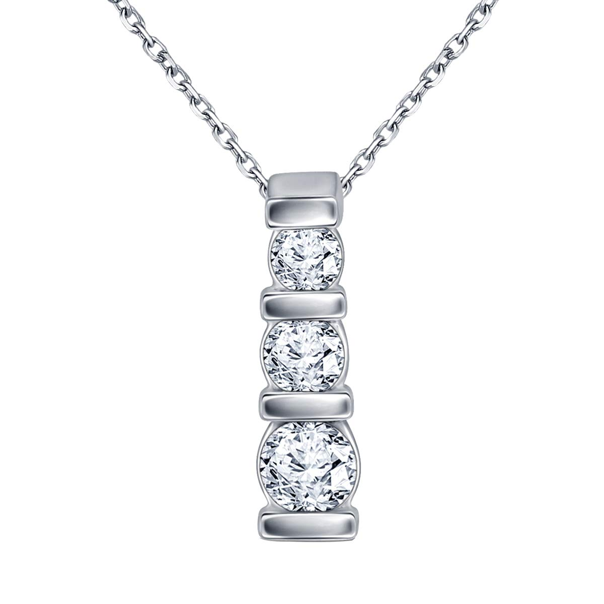 Ringjewels 3 Stone Drop Pendant Necklace with 18 Chain 0.48 Ct Round CZ Diamond 14K White Gold Plated