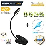 BOODLO 360° RECHARGEABLE Easy CLIP ON READING LIGHT, BOOK LIGHT & BED LIGHT for reading in Bed or Desk. EYE-CARE Protection, 20 HOUR use, 2 Modes, 4 LED. Good for Music stands, kids, TRAVEL & CAMPING