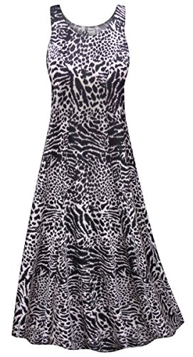 Sanctuarie Designs Black & Gray Animal Print Plus Size Poly/Cotton Princess Tank Dress 3X - Animal Print Tank Dress