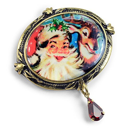 Sweet Romance Vintage Holiday Christmas Halloween Valentine's Day Brooch Pins (Christmas - Santa & -