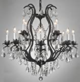 Wrought Iron Crystal Chandelier Lighting Chandeliers H30″ x W28″ For Sale