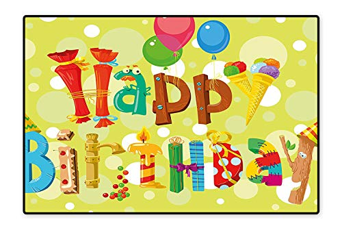 Area Rug Happy Birthday in Cute Shapes Funny Figures Ice Cream Candies Balloons Color Modern Watercolor Multicolor 5'8