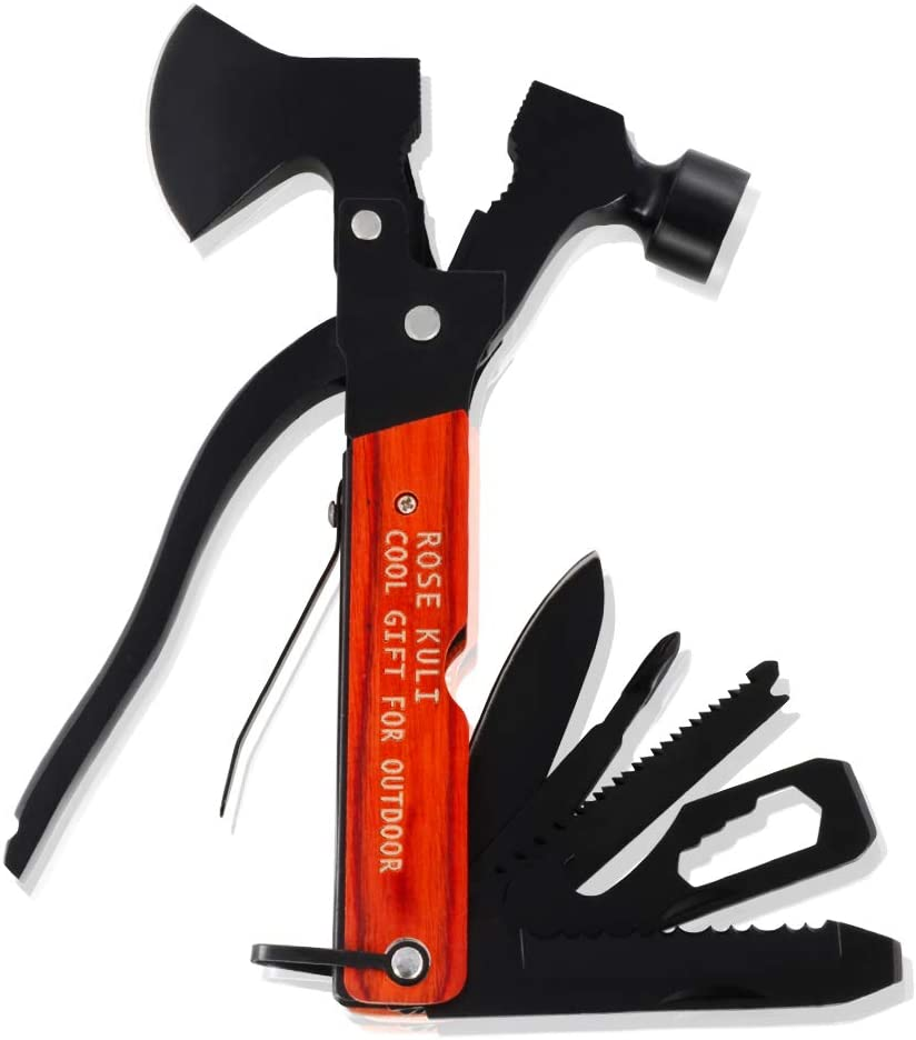 Rose Kuli 18 in 1 Multitool Stainless Steel Black Oxide with Wooden Handle Axe, Hammer, Saw, Plier, Knife, Wrench, Screwdrivers, Bottle Opener for Car Camping Hiking Outdoor Survival Tool