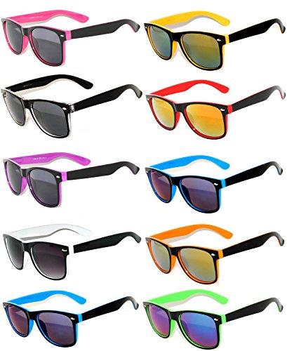 Vintage Two Tone Sunglasses Smoke Lens Classic Retro Style (10_Pack - Smoke_Lens_Mirror_Lens, Smoke)