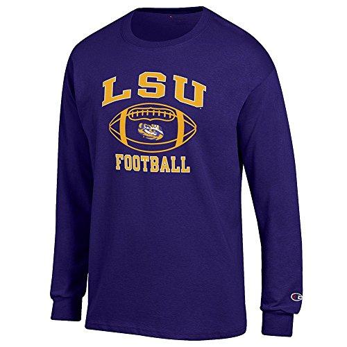 Elite Fan Shop NCAA Men's Lsu Tigers Football Long Sleeve T-shirt Team Color Lsu Tigers Purple Medium (Tigers Football Lsu)