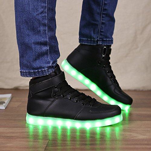 Vilocy 11 Couleurs Led Allument Des Chaussures Lumineuses Haut Top Clignotant Sneakers Usb Rechargeable Noir