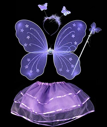 Child Tinkerbell Fairy Princess Costumes - LFHT 4pcs Kids Fairy Princess Butterfly Wing Wand Headband Tutu Skirt Halloween Party Costume Set for Girls Dress up (Purple)