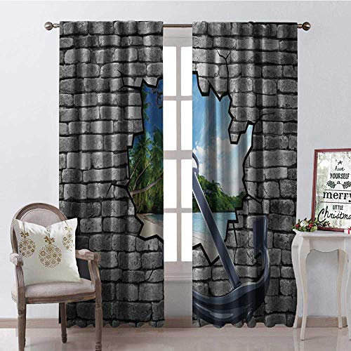 Hengshu Broken Hole Anchor Scenery Thermal Insulating Blackout Curtain Blackout Draperies for Bedroom W84 x L84