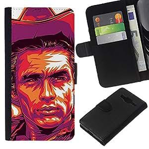 KLONGSHOP // Tirón de la caja Cartera de cuero con ranuras para tarjetas - Cowboy Cartel púrpura salvaje oeste - Samsung Galaxy Core Prime //