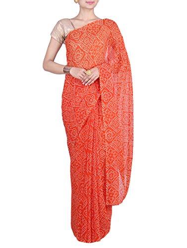 White Bandhej Orange Color Rajasthani Georgette Fancy Bandhani Saree