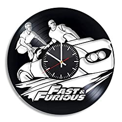 Fast and Furious Vinyl Record Wall Clock, Vin Diesel Art Handmade Gift Idea for Any Occasion, Original Home Room Kitchen Decor, Vintage Modern Style Theme