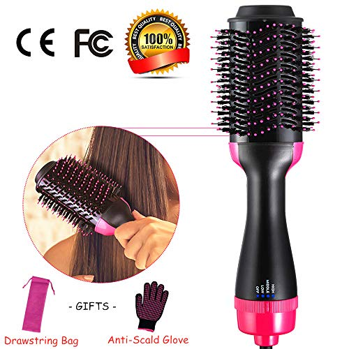3 in 1 Hair Dryer & Volumizer, One Step Negative Ion Curler & Hair Straightener, Hot Air Brush Comb Professional Anti-Scald with Rose Red Drawstring Bags & Gloves