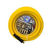 AUTOMAN 300 PSI Hybrid (PVC/Rubber) Air Hose 3/8-Inch by 50-Feet,1/4-Inch MNPT Ends,Lightweight,Non-Kinking,Extreme All-Weather Flexibility,with 18 Pcs Air Accessory Kit with Blow Gun,ATMA0238050.