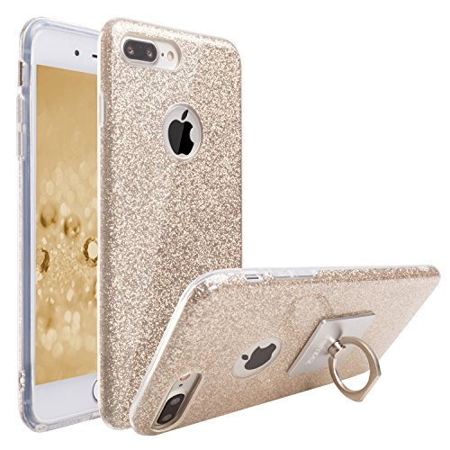 iPhone 8 Plus & iPhone 7 Plus Case, ZB [Sparkling Shine Series] Ultra Slim Glitter Bling Crystal Shock Absorbent Hybrid Case Cover for Apple iPhone 8 Plus & iPhone 7 Plus with 1 Ring Holder [Gold] Ss Glitter