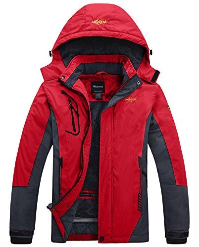 Wantdo Men's Mountain Outdoorwear Fleece Windproof Ski Jacket(Red,US M)