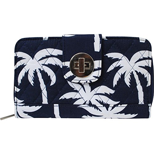 Tropical Palm Tree Print Quilted Twist Lock Wallet (Palm Tree Purse)