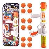 EXERCISE N PLAY Rapid Fire Atomic Power Pump Action Popper Air Powered Blaster Shooter Gun Foam Ball Battle Toy for Kids
