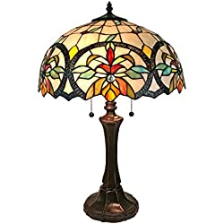 "Amora Lighting AM313TL16 Tiffany Style Multi-Color Mission Table Lamp, 18""H x 16""W"