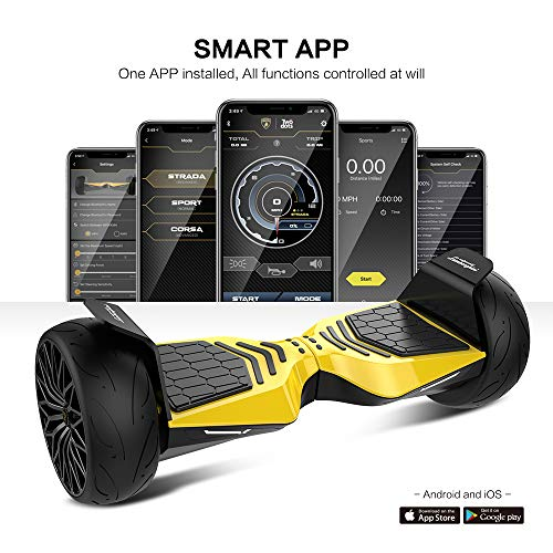 """LAMBORGHINI TwoDots Hoverboard 8.5"""" with App Glyboard Corse and Bluetooth Speaker LED Lights Two-Wheel Balancing Electric Hover Board Scooter for Adult by UL2272 Certified"""