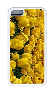 iPhone 5C Case, Personalized Custom Rubber TPU White Case for iphone 5C - Yellow Tulips 3 Cover