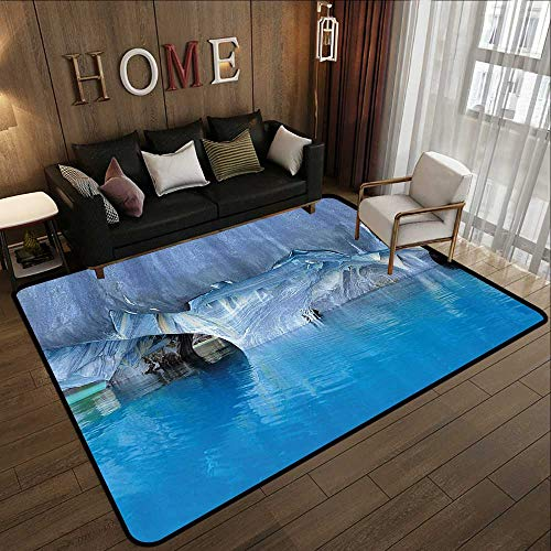 Bath Rugs for Bathroom Non Slip,Blue,Marble Cave General Carrera Lake in Chile Natural Wonders Rocks Azure Water,Blue Purplegrey White 63