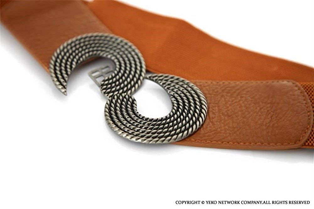 Coolweary Womens/&Ladys Fashion Vintage Wide Metal Interlock Buckle Stretchy Waist Cinch Belt Dress Belt