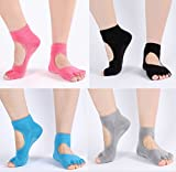 Amandir 4 Pairs Non Slip Yoga Socks Non Skid Yoga Pilates Barre Toeless Socks with Grips for Women