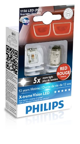 Philips 1156 P21W Red X-tremeVision LED Exterior light (Pack of 2)