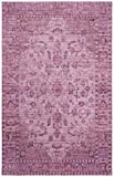 Safavieh Valencia Collection VAL105C Pink and Multi Vintage Overdyed Distressed Silky Polyester Area Rug (5′ x 8′)