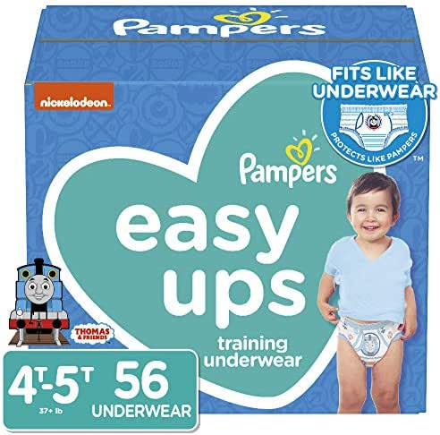Pampers Easy Ups Pull On Disposable Potty Training Underwear for Boys, Size 6 (4T-5T), 56 Count, Super Pack