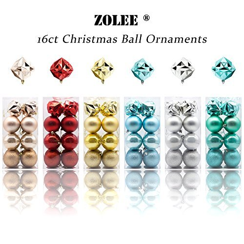 Zolee 16-Piece 80mm Christmas Decoration Ball - (80 Mm Tip)