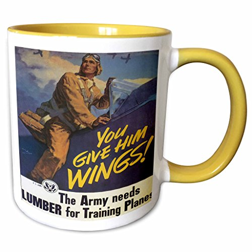 3dRose BLN Vintage World War I and World War II Posters - Vintage You Give Him Wings Army Training Planes War Poster - 15oz Two-Tone Yellow Mug (mug_149456_13)