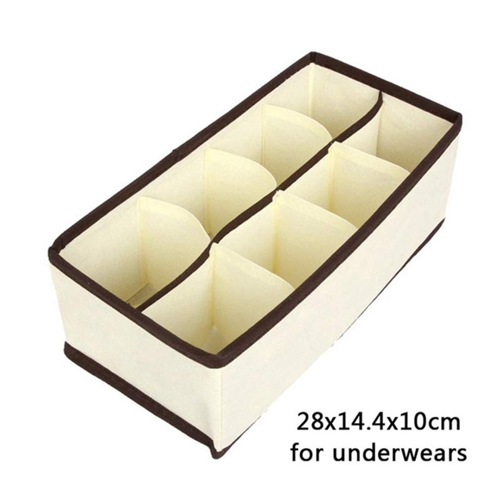 VADOLY Foldable Storage Box 6/7/8/12/24 Grids Bra Organizernon-Woven Fabric Wardrobe Organizer for Underwear Socks
