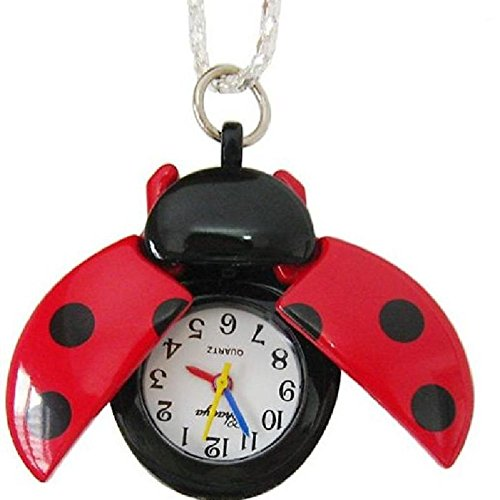 Eachbid Smart applied red New Women Lady Girls Ladybug Beads Wing Open Quartz Chain Necklace Pocket Watch