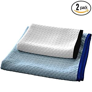 """(2-Pack) THE RAG COMPANY """"Dry Me A River"""" 20 in. x 40 in. & 16 in. x 24 in. Professional Korean 70/30 Microfiber Waffle-Weave Drying & Detailing Towels With Silky Soft Satin Edges"""