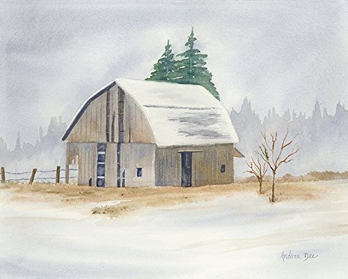 Winter Barn Watercolor Landscape 8x10 Unframed - Paintings Watercolor Winter