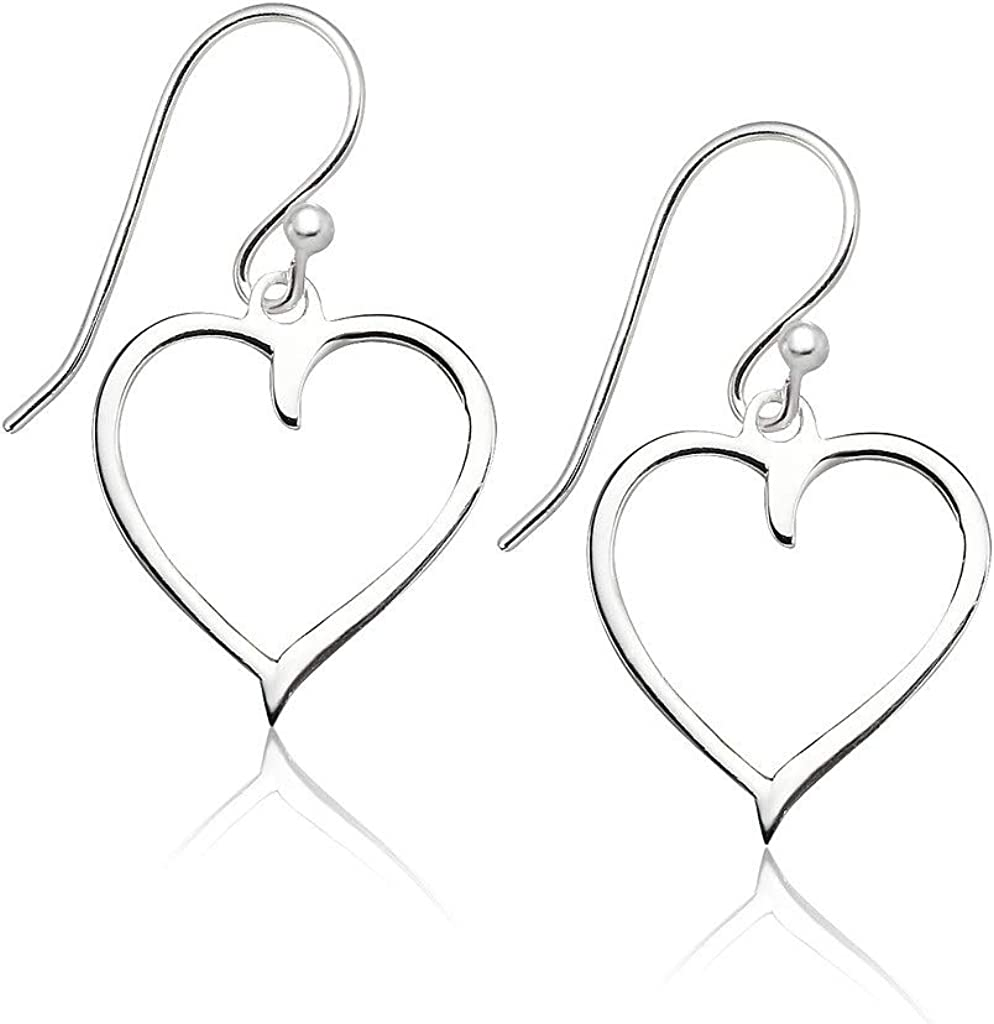Big Apple Hoops - High Polished Genuine 925 Sterling Silver Lovely Heart Drop Dangle Earrings in 3 Color Rose, Silver or Gold Ideal Gifts for Women, Teens, Men