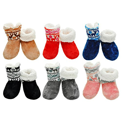 Angelina 1 or 6 Pairs Winter-Weight Sherpa-Lined Indoor Boots with Non-Slip Bottom