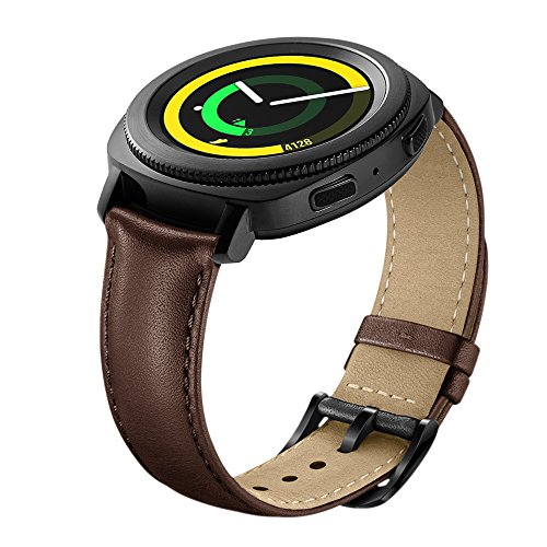 Aresh for Samsung Gear Sport Band, 20MM Genuine Leather Bands for Gear Sport Smartwatch SM-R600 /Gear S2 Classic/ Garmin Vivoactive 3 (Brown) Photo #4