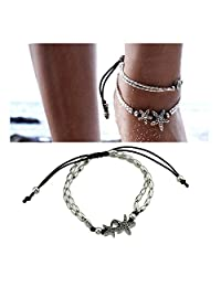 Feelontop® 1pc Boho Chic Star Fish Silver Oval Beads Adjustable Anklets Women Barefoot with Jewelry Pouch