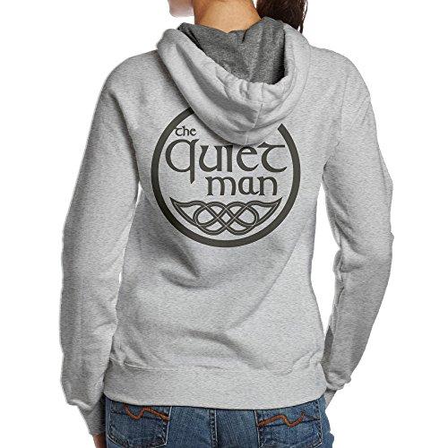 SBPZEB Quiet Man Logo Sport Women's Hooded Sweatshirt M Ash
