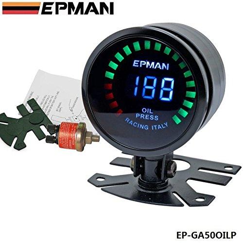 EPMAN 52mm Smoked Digital Color Analog LED Psi/Bar Oil Press Pressure Meter (Smoked Color)