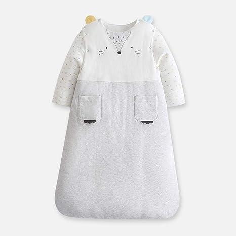 Bebé recién nacido engrosamiento anti-patada es anti-repentino algodón cálido saco de dormir de manga larga-Shallow grey_90cm bebé saco de dormir para niños pequeños saco de dormir dormir: Amazon.es: Bebé