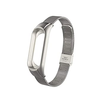 Eupoundo para Xiaomi Mi Band 3 Correa, Doble Hebilla Elástica Correa de Malla de Reloj de Pulseras Ajustable de Acero Inoxidable, Wristband Repuesto ...