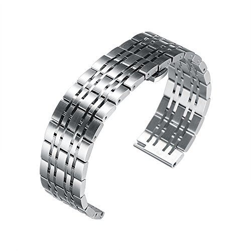 20mm Watch Band Stainless Steel Metal 22mm 20mm 18mm iStrap Replacement Bracelet Strap for Men's Women's Watch Silver by iStrap (Image #5)