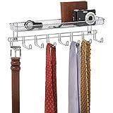 mDesign Organizzatore Armadio da Parete per Cravatte, Cinture, Portafogli con Mensola - Cromato