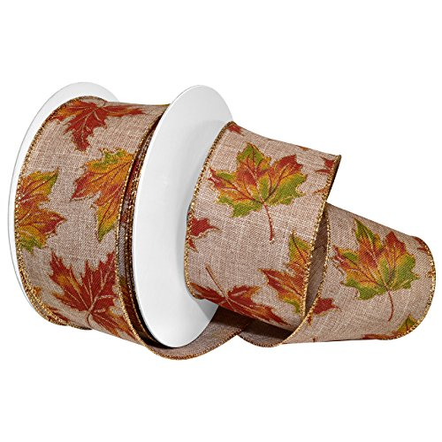 Morex Ribbon Wired Polyester Autumn Leaves Ribbon, 2-1/2